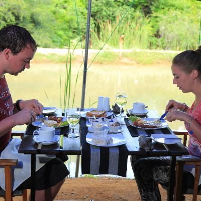 Guests having breakfast at Mahoora - Yala